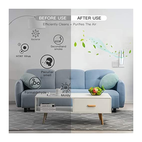 HomeZens Portable Plug in Air Purifier for Viruses and Bacteria, UV-C Light Sanitizer Eliminate and Sanitize Germs & Odor, Keep Air Clean for Bedroom, Kitchen, Bathroom, Pet Area, Nursery, Small Rooms 3 🍃 UV air purifiers are designed to use UV-C light to inactivate airborne pathogens and microorganisms like mold, bacteria and viruses. Powerful UV-C light can kill up to 99.9% of germs and bacteria without any additional liquid or chemicals. 🍃 This 7 inch small wall pluggable air purifier is perfect for the kitchen, litter box room, bathroom, or children's room. Just plug it into any 120V outlet and 180 degrees rotatable plug for a different angle, the light will turn on and work, effectively sanitize a 10㎡ room it within 2h to get the best result. 🍃 UV light air purifiers disinfect the hard to reach corner of your room, The top cover for full protection design and fully sealed air purification design works in photolysis cavity, no radiation and ozone leakage, no need to be away from the room when working.