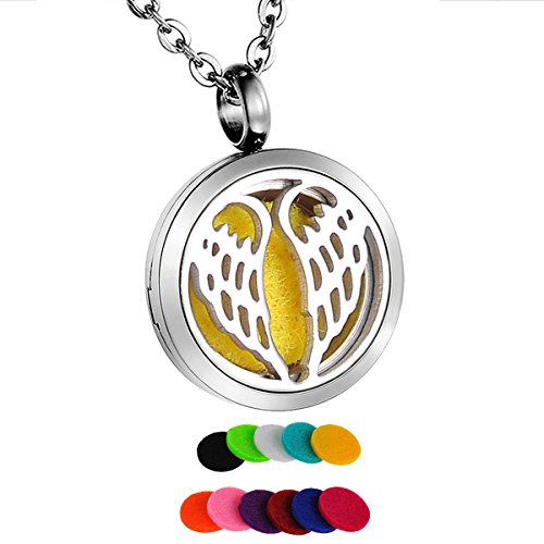 HooAMI Aromatherapy Essential Oil Diffuser Necklace - Stainless Steel Angel Wing Locket Pendant 20mm