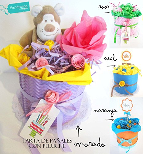 Tarta de Pañales DODOT con Peluche (Chicco, Boboli...) | Personalizable con Nombre del Bebé | Elige Tú el Color de la Tarta y la talla de los Pañales! | Baby Shower Gift Idea