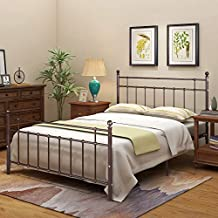 Metal Bed Frame Queen Platform with Vintage Headboard and Footboard Sturdy/No Squeaky Premium Steel Slat Support Brown