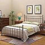 Estructura de cama de metal, base de cabecero de pie, placas de acero resistente.