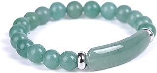 Handmade Colorful 8MM Healing Stone Beads Bracelets Aventurine Jade Stretch Bangle Bracelet Natural Gemstone Stretch Bangl...