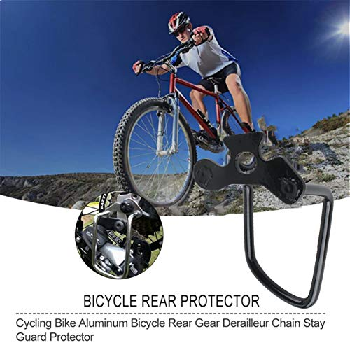fgjhfghfjghj Acero al Carbono Izquierda Derecha Ranura de Las alas Ajustable Ciclismo Duradero Bicicleta Bicicleta Desviador Trasero Cadena Stay Guard Gear Protector