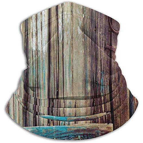 Linger In Brown Teal Rustic Aged Shed Door Country Neck Warmer Gaiter Balaclava Ski Mask Face Mask Hats Headwear