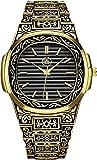 King Division Men's Gold Engraved 40mm Swiss Quartz Hip Hop Watch