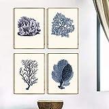 Azul Coral Arte Impresiones Antiguas Decoración de Pared Vintage Mar Corales Arte de Pared Impresiones Lienzo Decoración del Hogar 4 Unids 40x50cm/15.7'x19.7' Sin Marco