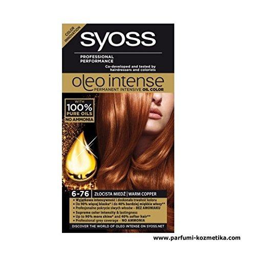 Syoss Oleo Intense Haarkleur Kleurstof 100% Pure Oliën 0% Amonia 6-76 Warm Koper