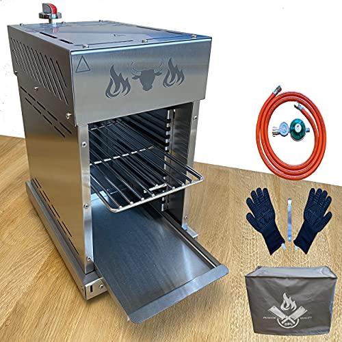 Beef Grill Steakgrill Oberhitzgrill Gasgrill BBQ Set 2 m Schlauch + Manometer + Handschuh und Abdeckung