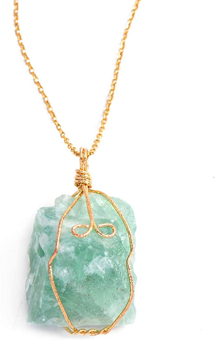 YGLINE Natural Raw Stone Healing Crystal Necklace Wire Wrapped Pendant for Womens Ladies