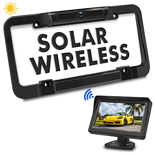 PORMIDO Solar Wireless Backup Camera License Plate with Monitor Kit 4.3 inch Universal Reverse Rear View Camera for Car Digital Stable Signal 170° Rearview Angle Easy Install No Wiring