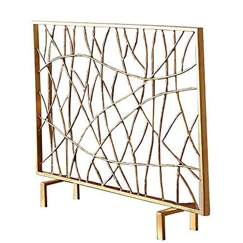 Find Bargain WJMLS Simple Fireplace Screen Gold, Outdoor Safety Spark Guard Home Decor Single