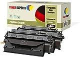 Pack de 2 TONER EXPERTE® Compatibles CE505X 05X Cartuchos de Tóner Láser para HP Laserjet P2050 P2053 P2053d P2053n P2054 P2054d P2054n P2055 P2055d P2055dn P2055x P2056 P2056d P2056n P2057 P2057d