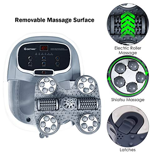COSTWAY Foot Spa/Bath Massager, with Motorized Rollers, Shiatsu Massage, Shower, Heat, Red Light, Temperature Control, Timer, LED Display, Drainage Pipe for Foot Stress Relief (Grey)