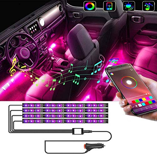 Car Interior Light-OONOL Car LED Strip Light 4pcs Bluetooth Control Neon Lights with Music Sync Under Dash Car Multicolor Lighting Kit for DIY Auto Party Car Cigarettet, DC 12V (48 LED APP)