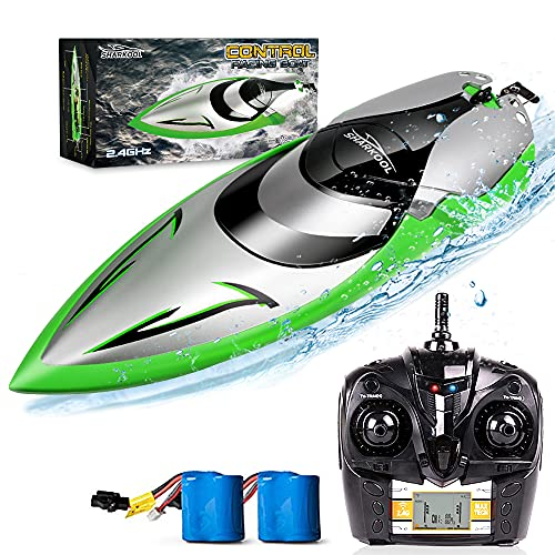 RC Boat [Upgraded 2021] - SHARKOOL 2.4 GHZ 25+ MPH Remote Control Boat, Fast RC Boats for Adults and Kids, Remote Controlled Boat for Pools and Lakes with 2 Rechargeable Batteries