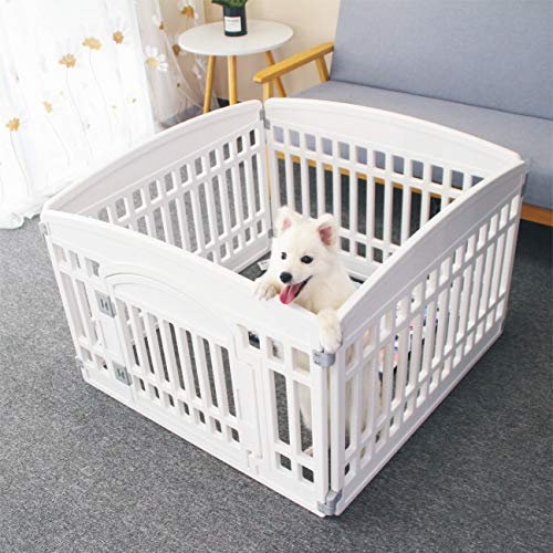 Pet Playpen Foldable Gate for Dogs Heavy Plastic Puppy Exercise Pen with Door Portable Indoor Outdoor Small Pets Fence Puppies Folding Cage 4 Panels Medium Animals House Supplies (33.5x33.5 inches)