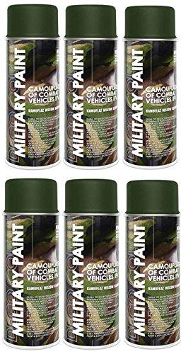 6er Sparpack MILITÄR Army Militärlack Lackspray 400ml Nato freie Farbauswahl (6 Dosen in olive-nato RAL 6014)