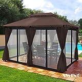 Swing & Harmonie Pavillon 3x4m Minzo - inklusive Seitenwände Gartenpavillon Partyzelt Gartenzelt (mit Moskitonetz, braun)