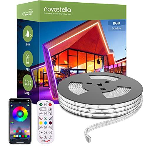 Novostella 16M Ruban à LED RGB Extérieur IP65 Étanche, Bande LED Couleur APP Contrôle avec RF Télécommande Sync avec Musique, Tube Lumineux Multicolore Dimmable Pour Jardin, Piscine, Maison, Fête, 24V