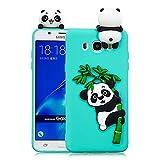 HopMore Funda Samsung Galaxy J7 2016 Silicona Motivo 3D Divertidas Unicornio Panda Bonita Ultrafina Slim Case Antigolpes Cover Protección Dibujo Gracioso Carcasa para Samsung J7 2016 - Negro Panda