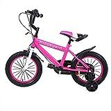 MuGuang 14 Pulgadas Bicicleta Infantil Estudio Aprendizaje Montar a Caballo Bicicleta niños niñas Bicicleta con ruedines con Campana por 3-8 años (Rosa Rojo)