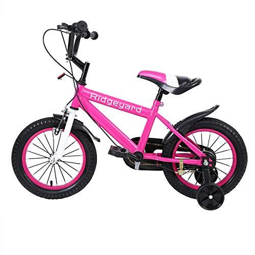 MuGuang 14 Pollici Bicicletta da Bambina Bicicletta per Bambino Studio apprendimento Equitazione Bici Ragazzi Ragazze Bicicletta con stabilizzanti con Bell per 3-8 Anni (Rosa Rossa)