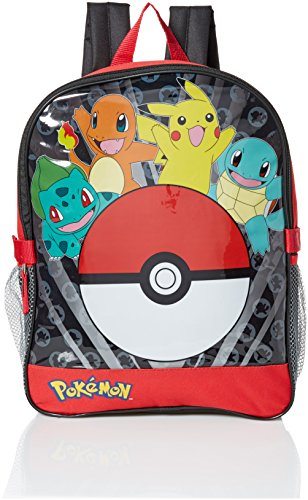 Pokemon Boys' Pocket 15 Inch Backpack with Lunch Kit, Red