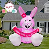 JF Deco 4 Ft Easter Inflatable Happy Bunny Airblown LED Lighted Home Decoration Indoor Outdoor Pink