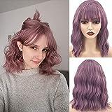 LANSE peluca ondulada rizada natural con aire púrpura peluca mujer peluca corta bob peluca sintética hasta los hombros peluca de cosplay para niña pelucas personalizadas 14 pulgadas (púrpura)