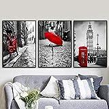 TZZXYXGS 3 Stück Wandkunst Leinwand Malerei Roten Fahrrad
