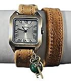 Wickelarmbanduhr mit Edelstein Jade und Schlüssel Vintage-Style Quadrat Analog Bronze Leder Geschenkidee Damen-Armbanduhr Geschenk für Sie Muttertagsgeschenk