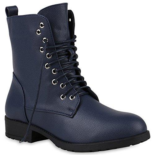 Damen Stiefel Stiefeletten Schnürstiefeletten Schuhe 147158 Dunkelblau 38 Flandell