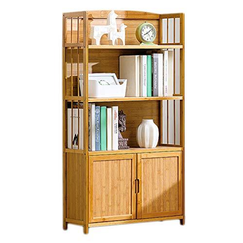 Stevige Houten Boekenkast, Simple File Storage Kasten Multi-layer Half-open moderne boekenplank met kastdeur en Backplane voor thuiskantoor