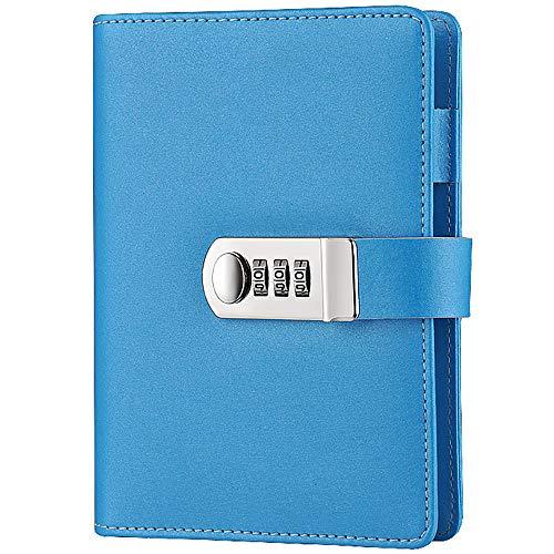 Notizbuch, A6, lose Blätter, wiederbefüllbar, 104 Blatt, PU-Leder, Geheimtagebuch mit Zahlenschloss blau