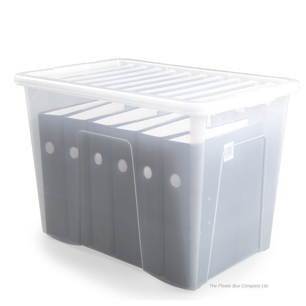 JMS® - Caja de almacenamiento de plástico transparente con tapa transparente, contenedor apilable de 80 litros, fabricado en Reino Unido, 10 unidades: Amazon.es: Hogar