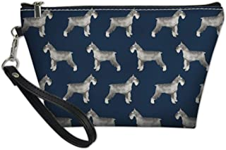 Renewold Schnauzer Print Zipper Closer Makeup Bag Small Portable Cosmetic Purse Toiletry Case Blue