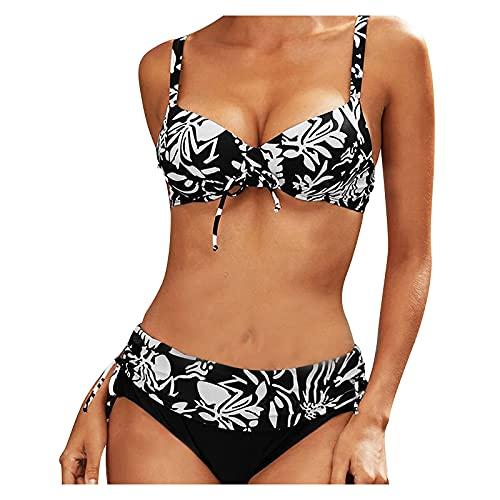HMHMVM Bademode, Slip, Bikinihose, Bademode, hohe Taille, Strandbekleidung, zweiteiliger BH, Bademode, Damen-Bikini-Set, hochgeschnitten, sexy, einfarbig, Push-Up-BH, Sommer, Strand