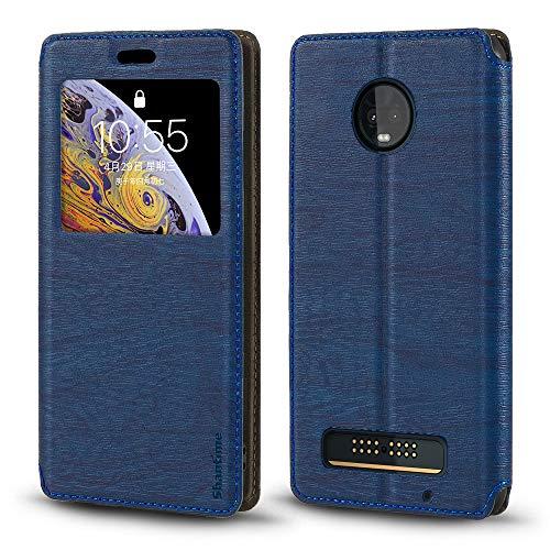 Capa para Motorola Moto Z3 Play, capa de couro de grão de madeira com porta-cartão e janela, capa flip magnética para Motorola Moto Z3 Play