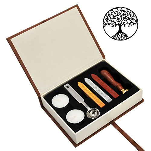 Tree of Life Wax Seal Stamp Set, Yoption Classic Vintage Seal Wax Stamp Set, Retro Seal Stamps Maker Gift Box Set (Tree of Life)