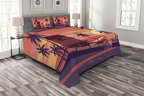 Ambesonne Island Party Bedspread, Sunset by The Road with Palm Trees and House Sea Town Coastal Graphic, Decorative Quilted 3 Piece Coverlet Set with 2 Pillow Shams, Queen Size, Coral Eggplant