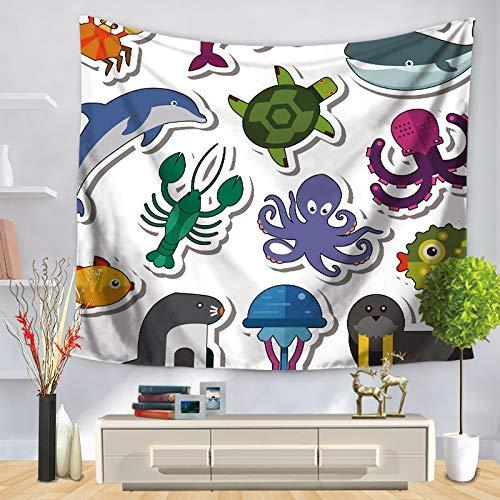 KHKJ Organismo Marino Arte Tapiz de Pared Caballito de mar Patrón de delfín Hogar Decorativo Dormitorio Manta Toalla de Playa Estera de Yoga A11 150x130cm