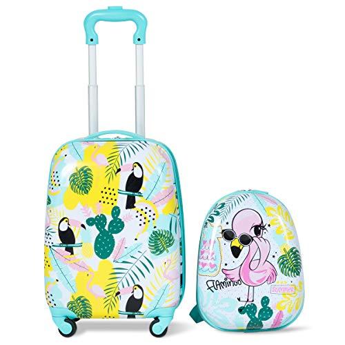 COSTWAY Set Trolley Valigia per Bambini, Viaggio&Scuola, con Ruote Flessibili, Zaino: 25 x 31 cm Valigia:46 x 30 x 22 cm, Fenicotteri