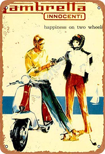 SLALL Lambretta Innocenti Happiness On Two Wheels Blechschild Home Garage Bar Supplies Leicht und interessante...