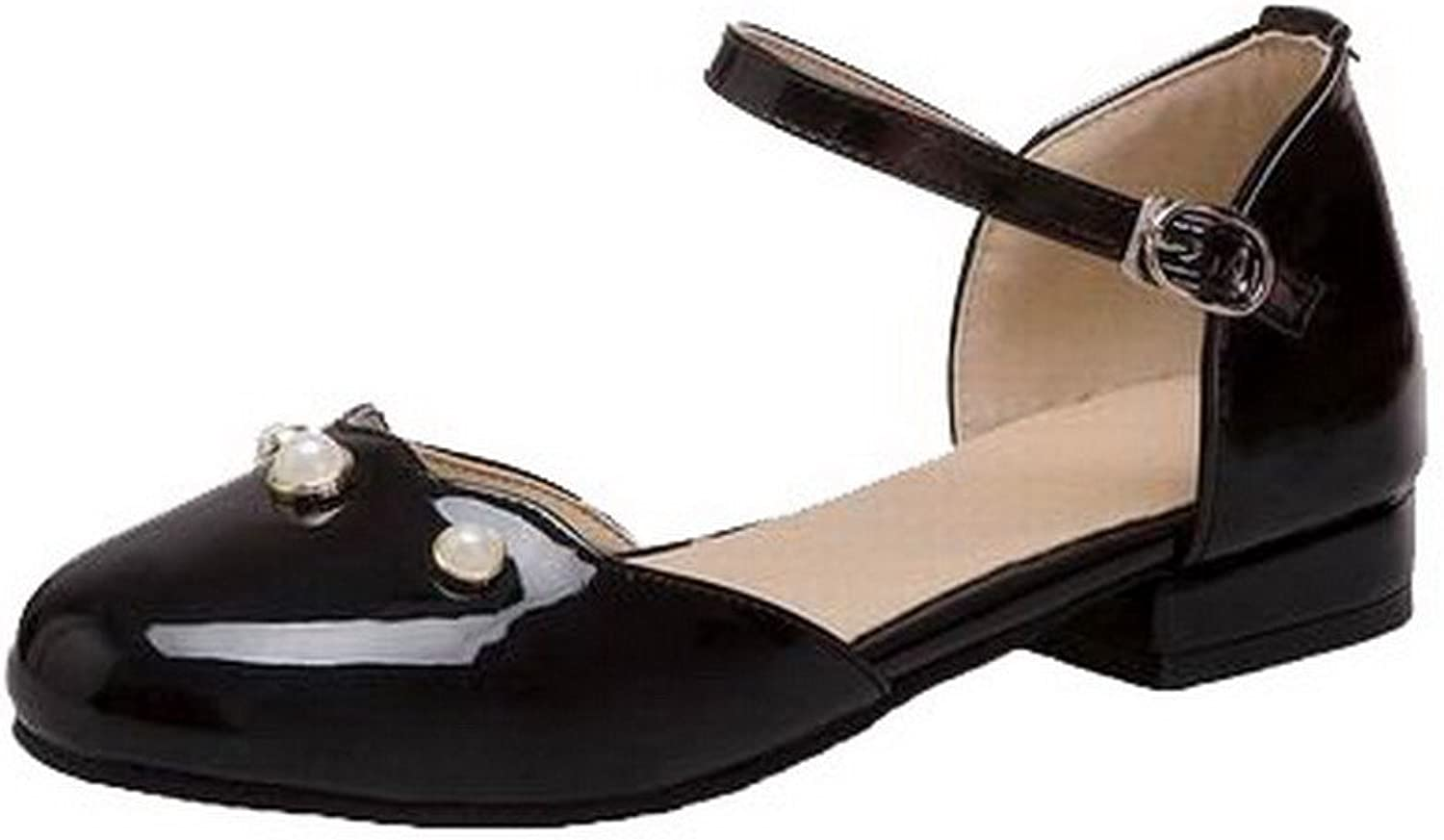 WeenFashion Women's Patent Leather Solid Buckle Closed-Toe Low-Heels Sandals