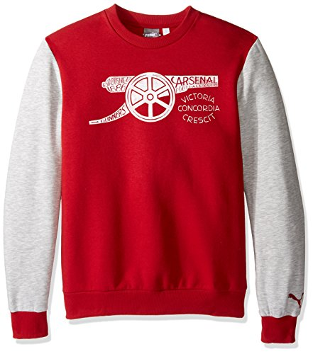 PUMA Mens Arsenal Fan Sweatshirt Large, Chili Pepper/Grey Heather