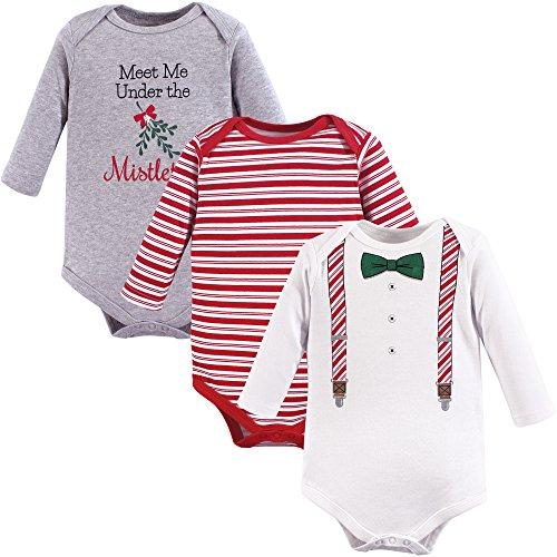 Little Treasure Unisex Baby Cotton Bodysuits, Christmas Suspenders, 0-3 Months