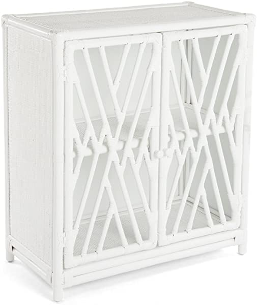 Kouboo 1110039 Rattan Chippendale Storage Cabinet With 2 Doors White