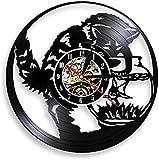 thetobea Reloj de Pared con Registro de Vinilo LP de Pesca de Gato en pecera, colector de Peces de Gato Negro, Reloj de Cocina Vintage 12, decoración de Acuario, Gatito, Miau, con LED