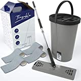 Tiasablu All-Purpose Swivel Mop for Floor Cleaning – Microfiber Mop with Non-Drip Bucket, Adjustable Handle, Mop Refills - 3-in-1 Flat Mop System with Broom and Duster for Hardwood Tile and Laminate