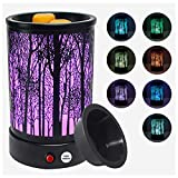 Hituiter wax warmer for scented wax with 7 Colors LED Lighting Oil lamp Wax Burner Candle Melt Warmer Metal Classic Black Forest Design for Fragrance Home Décor,Gifts